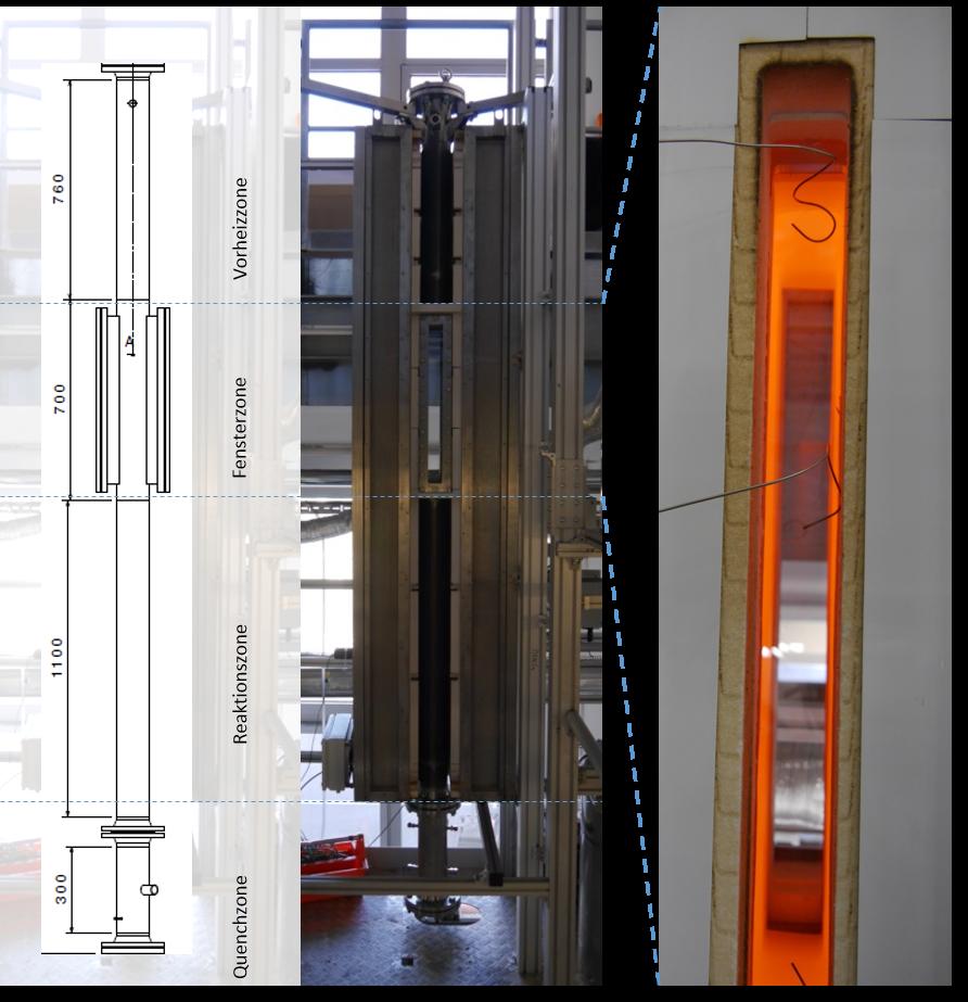 Droptube-Reaktor Skizze und Aufnahmen