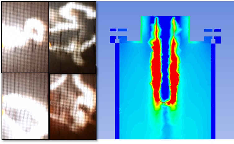 Plasma-Filamente Simulation und Aufnahmen